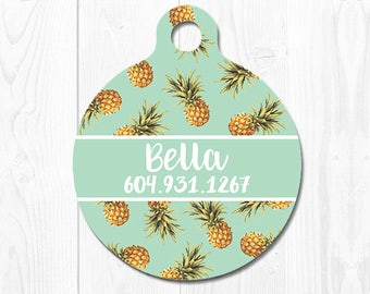Dog Tag Pet ID Tag Dog Tags for Dogs Dog ID Tag Dog Tag Cat Tag Dog ID Tags Cat id Tags Pet Tags Pet id Tags for Dog Mint Pineapple