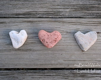Heart Photography- rustic beach art, Three Heart Stones, coastal photo art, beach theme wall art, heart rock photo print, romantic Valentine