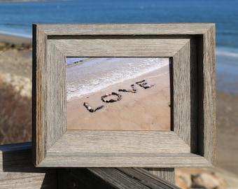Beach Love Photo- beach photography, love letters, romantic gift, framed 5x7, rustic barn wood, coastal photo art, beach decor, wedding wish