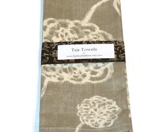 Tea Towels, Grey Flowers,  GrayDish Towels, Set of 2, Decorative Kitchen Towels