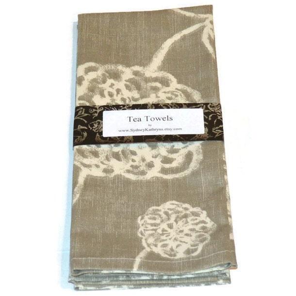 tea towels grey flowers graydish towels set of 2. Black Bedroom Furniture Sets. Home Design Ideas