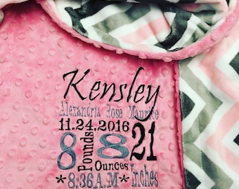 Custom minky personalized blanket in dimple dot hot pink/pink, grey chevron.