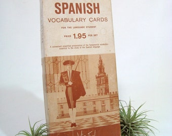Spanish English Vocabulary Cards Vintage Vis-Ed 1960s In Box of 1000