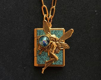 Dancing Fairy Peace Book-turquoise and gold