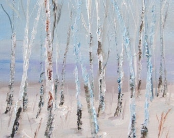 Aspens woodland winter landscape painted in oils 8x10 Art by Delilah