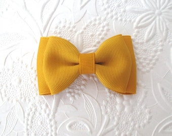 Mustard / Yellow Gold Baby Toddler Hair Bow ~ Back to School ~ Thanksgiving Hair Bows