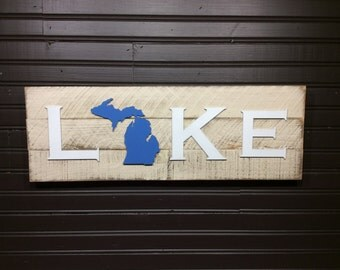 Michigan with Upper Penninsula LAKE plaque CUSTOMIZABLE