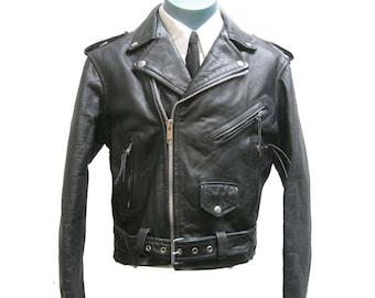 Skinny Motorcycle Jacket Vintage Mens Black Leather New Age International Punk Biker Cycle Jkt Mens US Size 38/ Bike Jacket/ Motorcycle Jkt