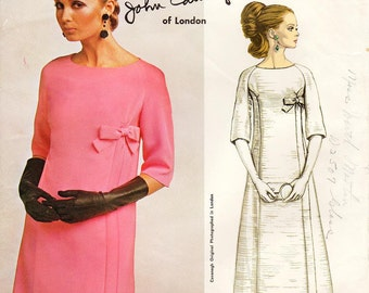 Vintage 1960's Vogue Dress Pattern 1757 by JOHN CAVANAGH - Misses' Dress in Two Lengths - Tunic & Skirt or Evening Length - Sz 12/Bust 32""