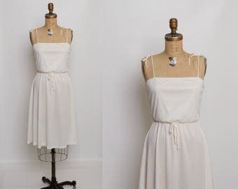 70s ivory sundress | vintage 1970s summer dress
