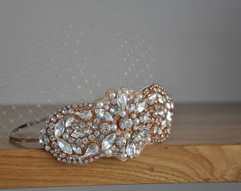 Rose Gold bridal headband with small veil, Wedding headband, Bridal Headpiece, Pearl and crydtals Wedding Headband