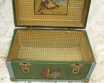 Antique 1930's Doll Trunk by Mary Lu Playthings/Early J.C.Penney Doll Wardrobe Trunk/ Metal Doll Trunk