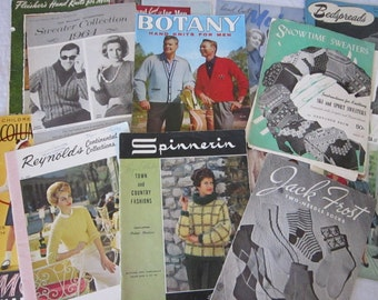 16 vintage magazines - KNITTING and afghans - two-needle socks, sweaters, and more - 1940s to 1960s