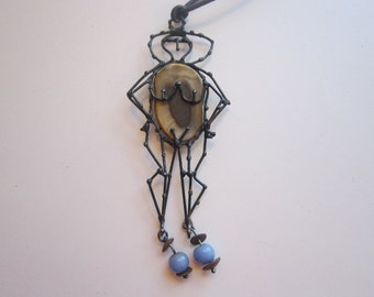 vintage handmade figural wire pendant - nude female, stone slice, nude figure, woman, statement piece