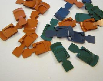 25 vintage metal signals - orange blue green - Graffco nu-vise metal tabs