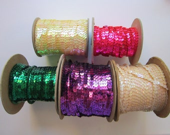 vintage sequin trim by the spool - YOUR CHOICE - cream, pale yellow, green, hot pink, purple