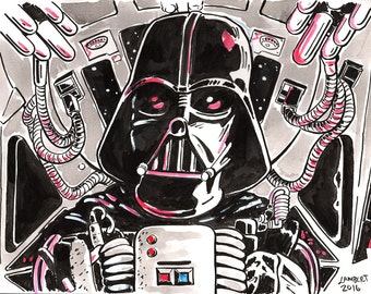 Darth Vader in Tie Fighter Ink Illustration