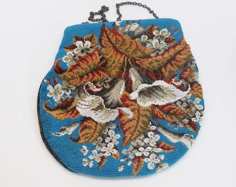 Large Antique Micro Beaded Calla Lilly Purse c. 1900s Exquisite Detail Brocade Backing