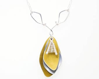 Yellow and Grey Anodized Aluminum Necklace – Handmade Silver and Aluminum Jewelry-Sunbeam Shadows Collection