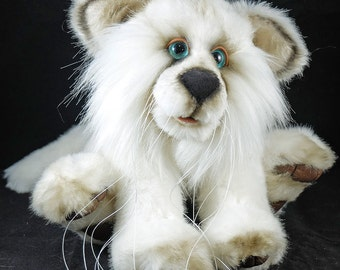 Blizzard  The 8 inch White Wolf by a collectable OOAK Artist Bear by Carol's Bears