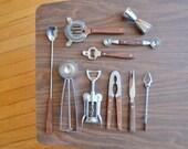 vintage midcentury modern bar tool set / vintage barware / wood and metal barware