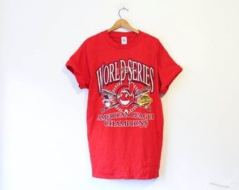 Vintage Cleveland Indians Baseball T Shirt 1997 American League Champions
