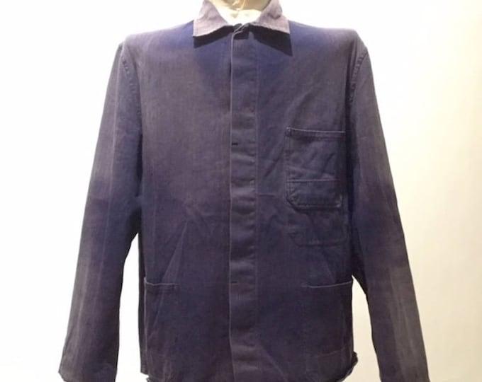 Vintage European Blue Cotton Button Up Distressed / Weathered Chore Coat  (os-ewj-4)
