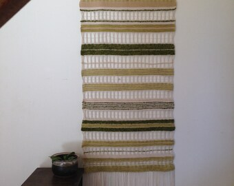 Vintage Handmade Weaved Wall Hanging / Mid Century Weaving Design / Green Cream Wall Home Decor / Detailed Wall Art