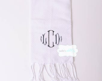 Fouta Turkish Towel for Kitchen or Bath Solid Colors with Standard Monogram