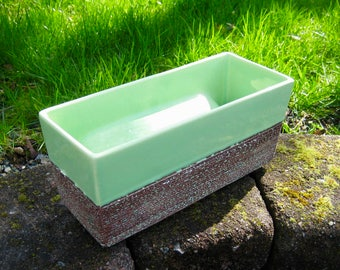 Mid Century Aborn Planter California Art Pottery Green w/Raked Glaze