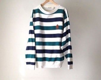STRIPED denim look COTTON sweatshirt made in USA