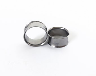 Pair 316L Stainless Steel Tunnels Double Flared 2pcs Plugs Earrings Tapers Gauges