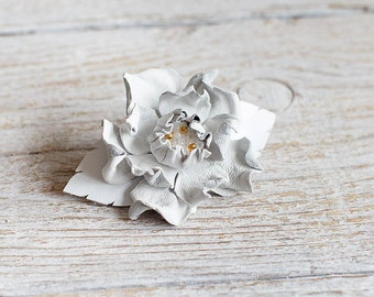White leather flower small french barrette hair clip