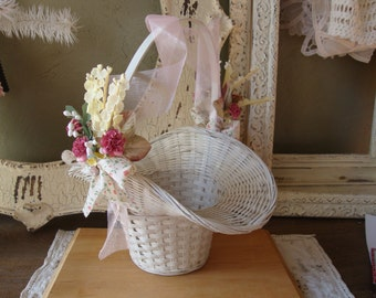 flower girl basket or easter basket shabby white woven basket vintage millinery flowers wedding table decorations easter table decorations