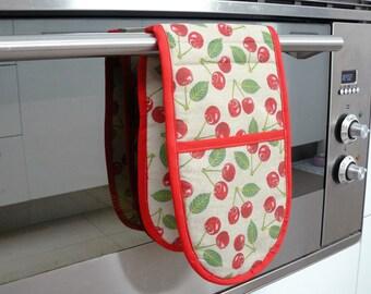 Double Oven Mitt - retro red cherries