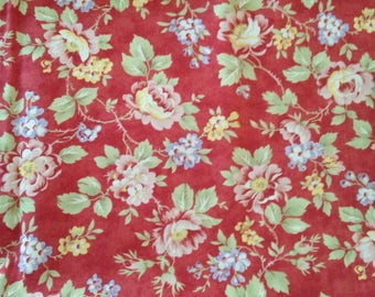 Chintz Floral Cotton Quilting Fabric Roses Flowers