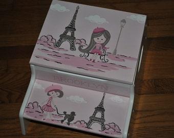Kids Step Stool-Paris-Eiffel Tower-Poodle-Girls-Pink-Stool-Childrens Step Stool-Girls Step Stool-Baby Shower-Kids' Furniture-Chair-Baby Gift