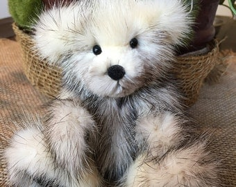 Delaney, A Black Cross Mink Real Fur Bear Jointed Teddy Bear