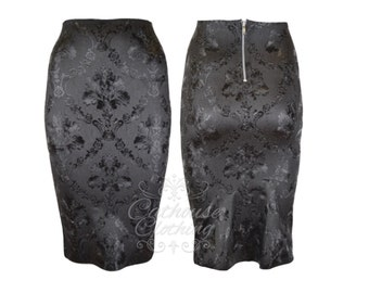 Latex rubber textured baroque pencil skirt by Cathouse clothing