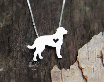 Chesapeake Bay Retriever necklace, tiny sterling silver hand cut dog pendant with heart