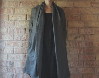 Gray  striped plain wool oversized jacket, cardigan, coat, with side pockets, size L, sustainable, upcycled from vintage textile leftover