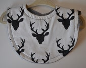 Organic Baby Boy Gender Neutral Black Cream Deer Stag Terry Cloth Bib