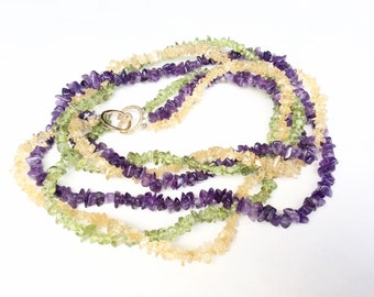 Gemstones chips Necklace amethyst citrine and green semi precious stones multiple strands torsade