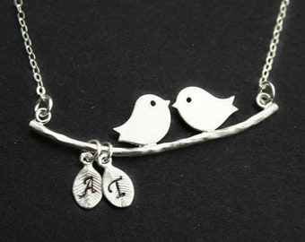 Bird Necklace, Personalized Initials with bird, Two birds on Branch, Mothers necklace, Family jewelry, Love Necklace, Sterling Silver