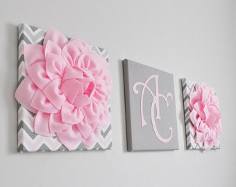 Floral Letter Initial Set of Three- Pink, White and Gray Floral Monogram - Chic Girl's Nursery Decor- Pink Canvas Letters - Nursery Wall Art