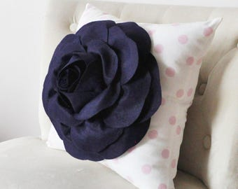 Navy Pillow Covers - One Rose Navy,  White and Light Pink Polka Dot Throw Pillow Navy Blue Pillow Cover -Decorative Pillow Navy Blue Pillows