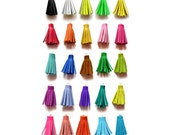1.5 Inch - Handmade Small Tassels, Short Leather Tassels, Rainbow Colors, Jewelry Making Supplies, Crafting Supply