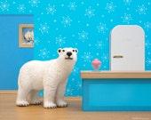 Polar bear retro kitchen art print: Arctic Ice Cream