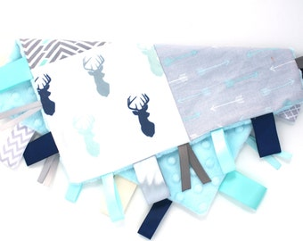 Limited Supply Personalized Tag Blanket- Patchwork Mint Aqua and Gray, Navy, Deer, arrows, chevron, Arrows