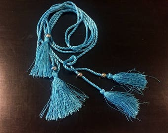 """60"""" Long (1.5 m) Turquoise Teal Cord Tassels Tie Backs Fringe for Necklace Jewelry Making Sash Box B ST"""